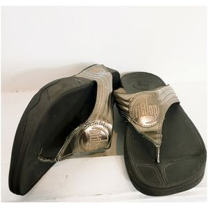 Fitflop Metallic Bronze Cushioned Thong Sandals